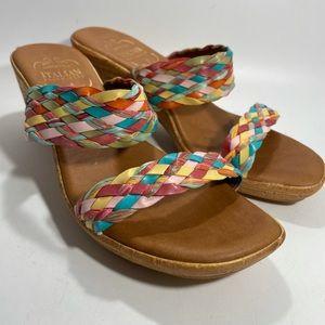 Italian Shoemakers Sz 9 Multi Color Wedge Sandals
